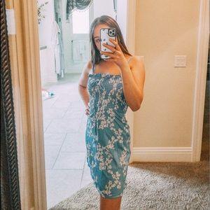 blue floral spaghetti strap dress!!